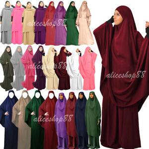 Burqa 2 Piece Women Prayer Dress Muslim Khimar Jilbab Set Overhead Hijab Abaya