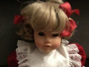 "Engel Puppe Puppen German doll  17"" Blonde Braids Brown Eyes - Red Velvet Dress"