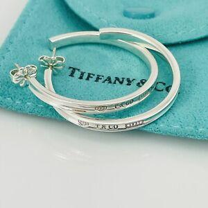 Tiffany & Co Sterling Silver Large Narrow 35mm 1837 Hoop Earrings