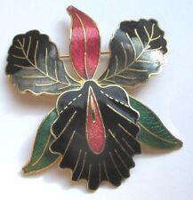 Grande broche bijou vintage orchidée couleur or émail cloisonné noir rouge 5102