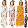Kids Girls Boho Long Sleeve Maxi Dress Holiday Casual Floral Bday Party Sundress