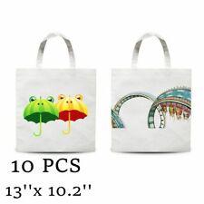 10pcsplain White Blank Dye Sublimation Shopping Bag Small Carrier Bag Non Woven