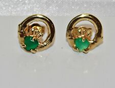 9ct Gold Emerald Claddagh Stud Earrings