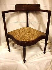 WILLIAM & MARY UPHOLSTERED FRENCH PROVINCIAL STYLE CORNER ACCENT CHAIR ANTIQUE