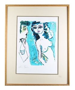 """""""Untitled"""" (Man with Cat Tie Staring at Nude Woman) Watercolor, Framed 31x25"""""""