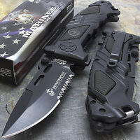 "8.25"" USMC MARINES TACTICAL SPRING ASSISTED FOLDING KNIFE Blade Pocket Open"