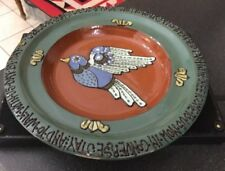Vintage Religious Peace Dove Terracotta Ceramic Wall Plaque Charger Tube Lined