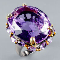 Handmade35ct+ Natural Amethyst 925 Sterling Silver Ring Size 8.5/R124536