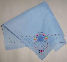 """Vintage 11"""" Fine Cotton Light Blue Handkerchief Crochet Floral Embroidery"""