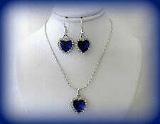 HEART OF THE OCEAN BLUE CRYSTAL TITANIC NECKLACE AND EARRINGS GIFT SET FOR HER