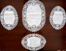 New White Handmade CROCHET/Embroidered LACY Oval Doilies Placemats 4pc