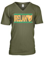 Ireland Harp Emblem Lines Symbol Trinity Country Colors IRL Men's V-Neck T-Shirt