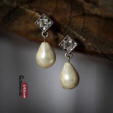 Boucles d'Oreilles Clous Argenté Art Déco Perle Goutte Poire Baroque Rétro E1