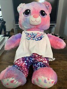 """Build A Bear Sweet Heart Hugs Scent Swirl Multicolor 17"""" Plush Teddy Pink Purple"""