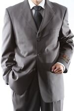 MENS SUPER 150S 3 BUTTON TAUPE STRIPE DRESS SUIT 38R, PL-65713-TAU
