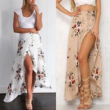 Boho Womens Chiffon High Waist Summer Beach Long Maxi Dress Casual Waist Skirt