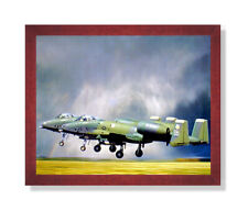 A-10 Thunderbolt Jet Airplane Wall Picture Cherry Framed Art Print