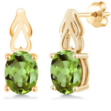 3.60 Ct Oval Green Peridot 18K Yellow Gold Plated Silver Earrings