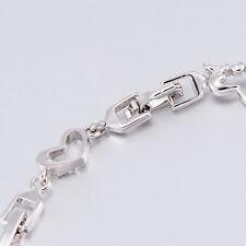 Korean Silver Filled Cubic Zircon Link Chain Heart/Love Bracelet Butterfly Cute