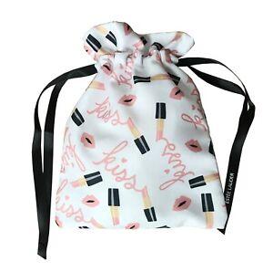 Estee Lauder White Makeup Print Cosmetic Mini Drawstring Lipstick Bag