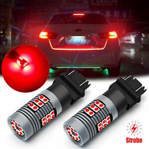 3157 3030 30-SMD LED Strobe Flashing Blinking Brake Stop Tail Light Bulbs Lamps