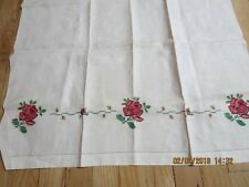 """VINTAGE LINEN TOWEL---HAND CROCHET FLOWERS-48"""" X 25""""---#P29A"""