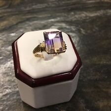 Stunning Vintage 5cts Emerald Cut AMETRINE And 14k GOLD Ring Sz 7.75