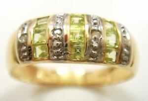 SYJEWELLERY NICE 9CT YELLOW GOLD SQUARE PERIDOT & DIAMOND BAND RING SIZE N R1262