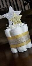 Mini Diaper Cake - Twinkle Twinkle Gold and White Neutral Diaper Cake Rustic