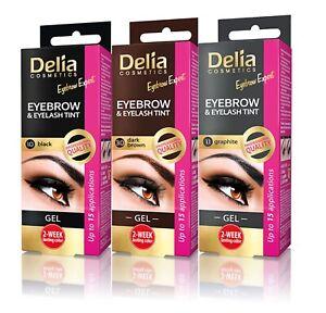 Delia Tint Brow Eyebrow Gel Eyelash Dye Henna Black Brown 15ml + Activator 15ml