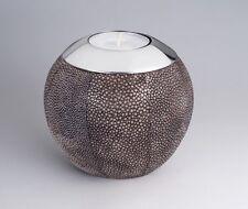 Amaris Elements | Teelichthalter Rochen Leder Kerze braun grau rund 12xH10.5cm
