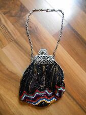 Old Vintage or Antique Purse Handbag Beaded Pewter Gorgeous Fancy Ornate Tribal