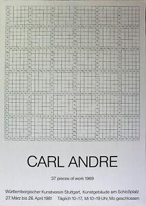 CARL ANDRE - 37 pieces of work 1969. (1981) Ausstellungsplakat / Offset.