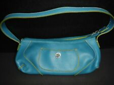 Tommy Hilfiger Teal Blue with Green Trim Leather Mini Hobo Purse