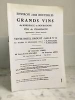 Catalogue de vente Grands Vins Environ 2.800 Bouteilles 22 Décembre 1970
