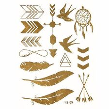 Premium Metallic Temporary Tatttoos - Feather tattoo /Bird tattoo /Dreamcatcher