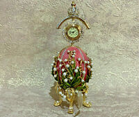 Faberge Egg Pink Lily of the Valley with Clock. Made in Russia