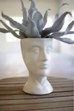 Ceramic Head Planter Flower Pot Plant White Bust