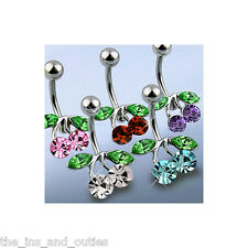 Cherry CZ Gem Belly Ring Navel Naval Clear, Purple, Aqua, Red, Pink