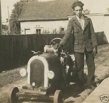ANTIQUE GO KART MINIATURE FOLK ART CAR AUTO DUCK HOOD ORNAMENT MOTOR OLD PHOTO