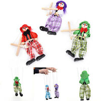 Great Marionette Pull String Puppet Clown Wooden Doll Kids Children Fun Toy  wv