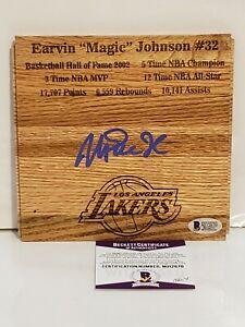 Magic Johnson Signed LA Lakers 6x6 Custom Floorboard Beckett-W COA