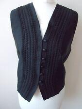 Women's  Black Self Stripe Applique V Neck  Waistcoat Vest by M&S Size 10