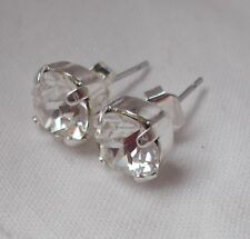Stud Earrings w/Swarovski Crystals~Wow! 8mm Cup Chain Crystal/Silver-Plated