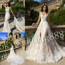 Detachable Train Wedding Dresses Formal Bridal Ball Gown Size 4 6 8 12 16 18+