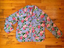 Betsey Johnson Intimates Flannel Nightshirt Top PJs Floral Print Sz M PERFECT
