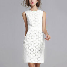 Women's Summer Casual Sleeveless Party Evening Cocktail Lace Short Dress White