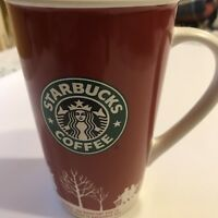 Starbucks Coffee 2006 Ceramic Travel Mug Handle 16 oz Red Holiday Christmas