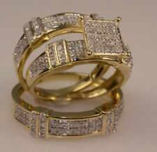 14k Solid Yellow Gold Over 1.75CT Round Diamond Trio Ring Set Engagement Wedding