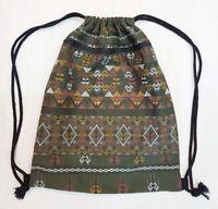 Green Drawstring Backpack Thai Hippy Boho Bag Cotton Fabric For Man and Women